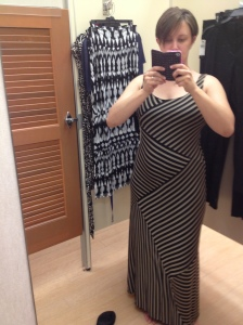 No, I didn't buy this dress.  My sister talked me out of it after I texted this pic to her.  Gotta love sisters.  They tell it like it's fat.