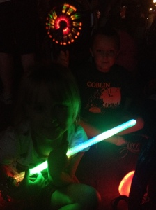 Hard to see, but let's just say they got every light up, noisy toy available.